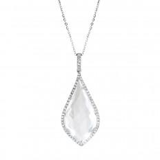 New Venetti 11.51 CTW White Topaz & Diamond Halo Teardrop Pendant