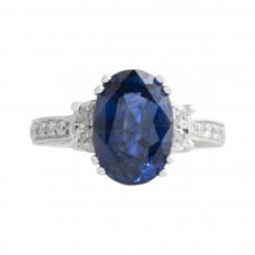 New 5.89 CTW Blue Sapphire & Diamond Ring