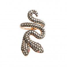 New 2.35 CTW Diamond & Ruby Double Head Snake Ring