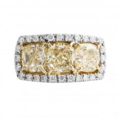 New 5.44 CTW Fancy Yellow & White Diamond Halo Ring