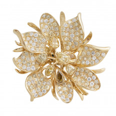 New 5.53 CTW Fancy Yellow Diamond Flower Ring