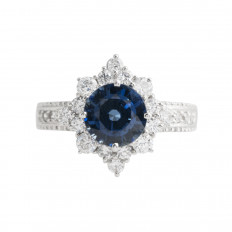 New 2.96 CTW Blue Sapphire & Diamond Halo Ring
