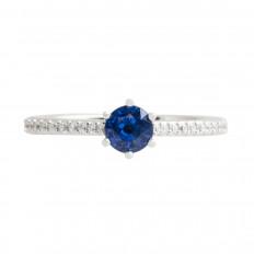 New 0.78 CTW Blue Sapphire & Diamond Ring