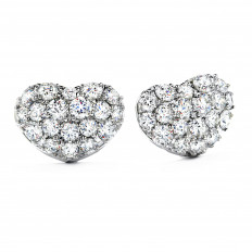 Vintage Hearts On Fire® 1.96 CTW Diamond Silk Pave Sweetheart Stud Earrings