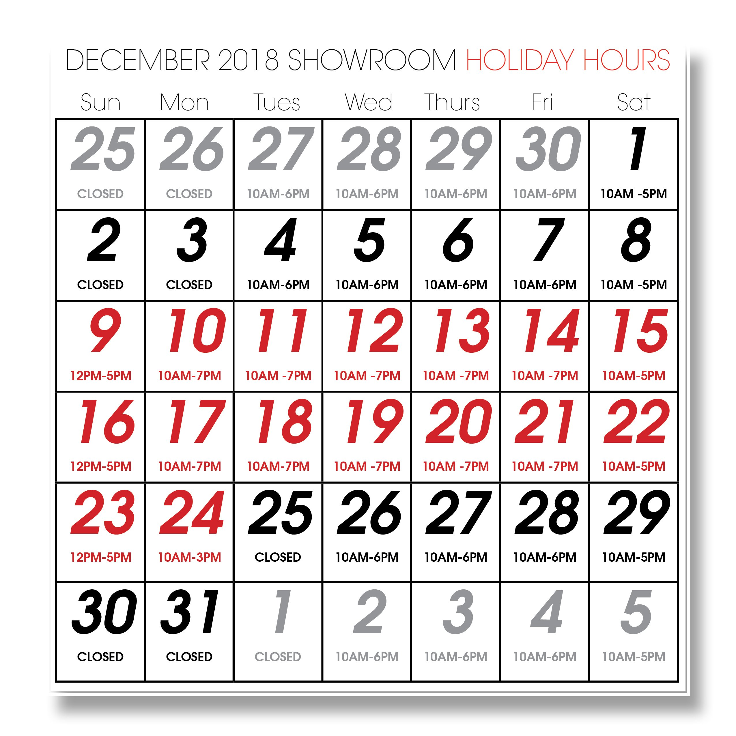 Holiday Schedule for 2018