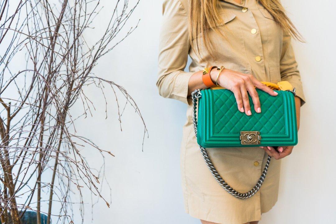 Green Chanel Hand Bag